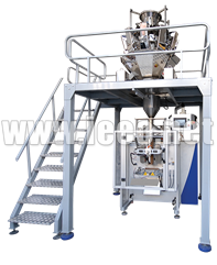 Weight filling and packaging machine